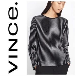 Vince Striped Boxy Fit Tee